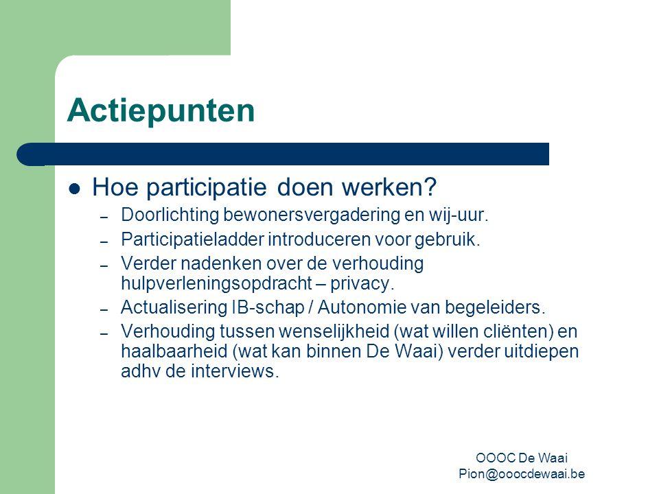 OOOC De Waai Pion@ooocdewaai.be Actiepunten Hoe participatie doen werken.