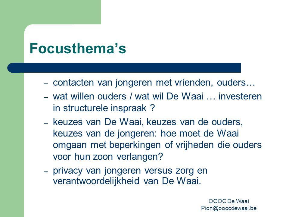 OOOC De Waai Pion@ooocdewaai.be Focusthema's – contacten van jongeren met vrienden, ouders… – wat willen ouders / wat wil De Waai … investeren in structurele inspraak .