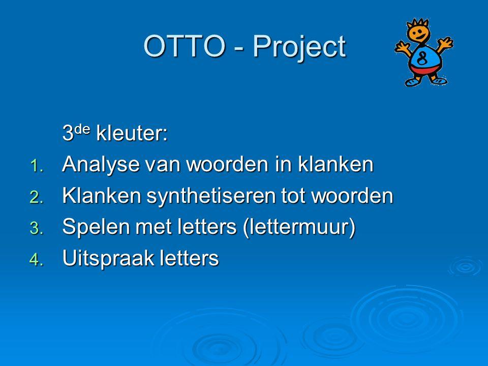 OTTO - Project 3 de kleuter: 1. Analyse van woorden in klanken 2. Klanken synthetiseren tot woorden 3. Spelen met letters (lettermuur) 4. Uitspraak le