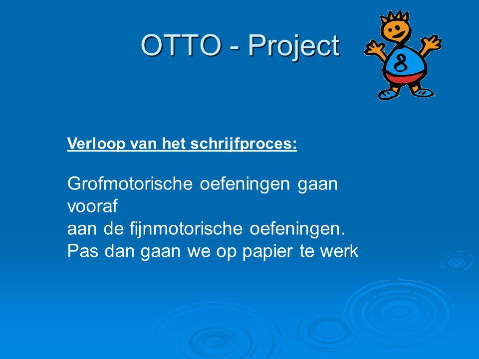 OTTO - Project Verloop van het schrijfproces: Grofmotorische oefeningen gaan vooraf aan de fijnmotorische oefeningen. Pas dan gaan we op papier te wer