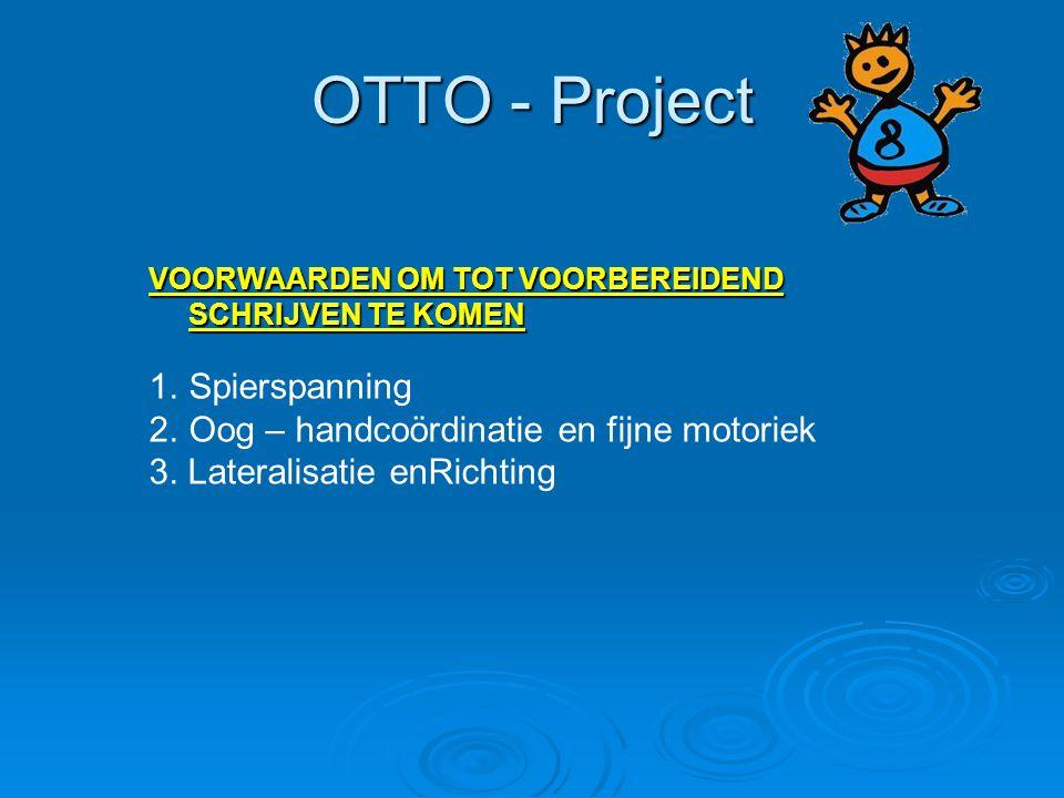 OTTO - Project VOORWAARDEN OM TOT VOORBEREIDEND SCHRIJVEN TE KOMEN 1.Spierspanning 2.Oog – handcoördinatie en fijne motoriek 3. Lateralisatie enRichti