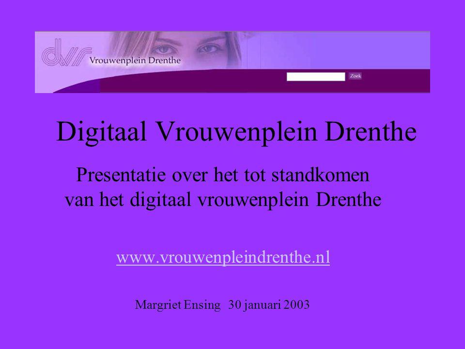 Digitaal Vrouwenplein Drenthe Presentatie over het tot standkomen van het digitaal vrouwenplein Drenthe www.vrouwenpleindrenthe.nl Margriet Ensing 30 januari 2003