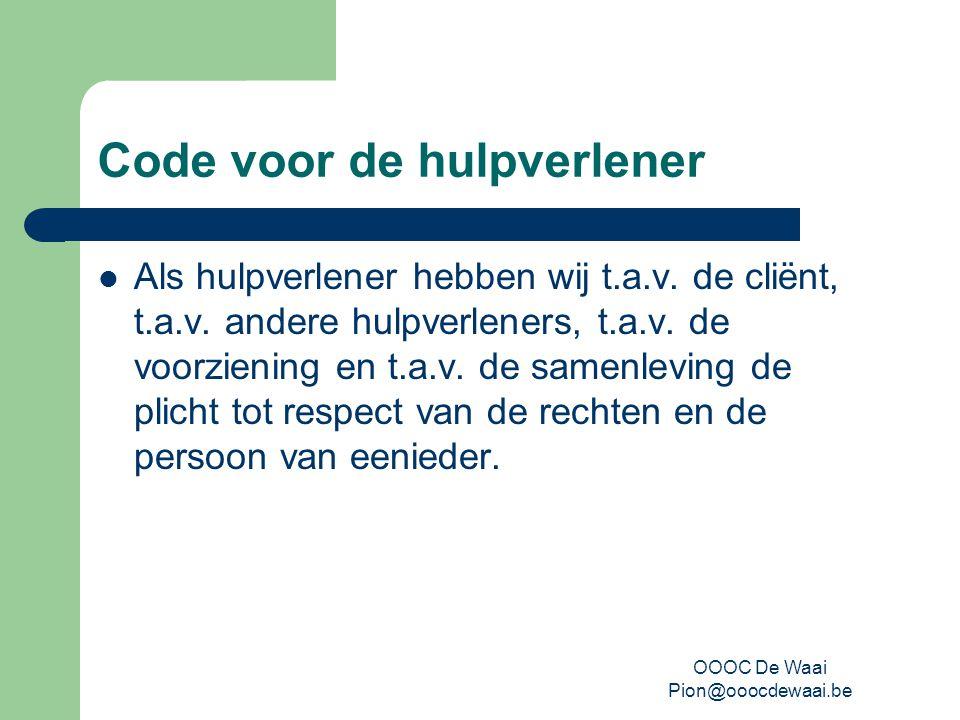 OOOC De Waai Pion@ooocdewaai.be Charter van de hulpverlening Vertaling van de code naar de jongeren toe Geeft aan hoe de jongeren zullen bejegend worden door de personeelsleden van De Waai