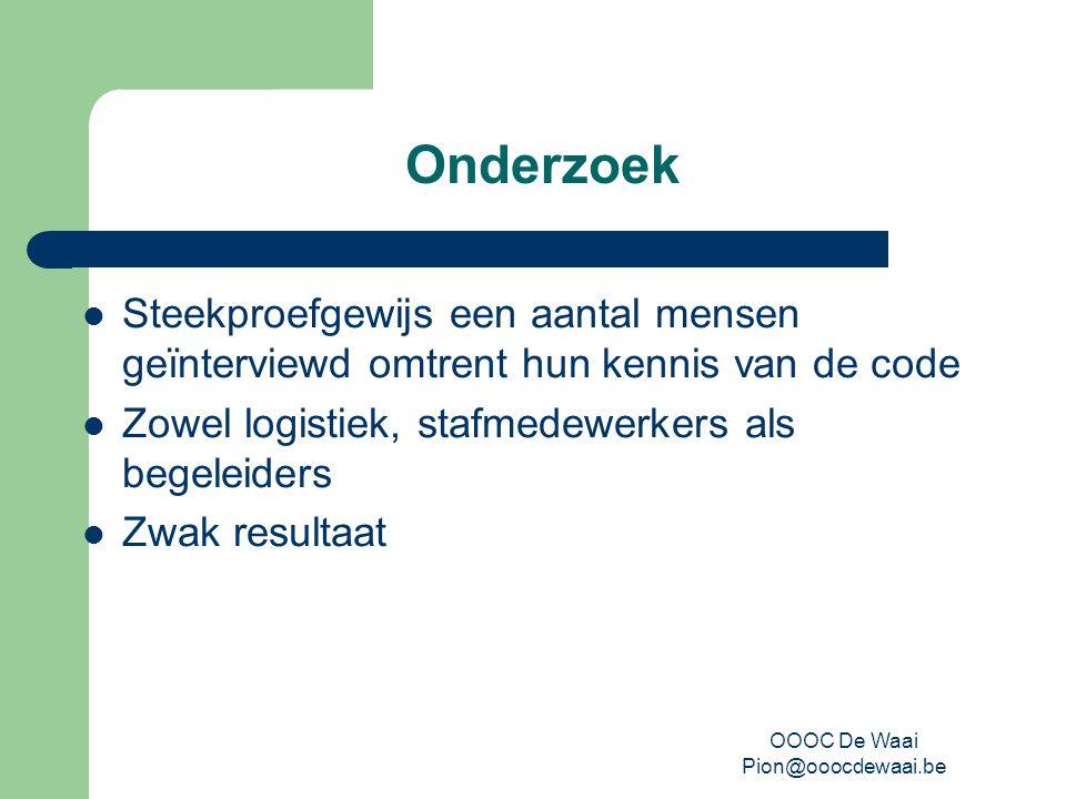 OOOC De Waai Pion@ooocdewaai.be Sensibilisering Sensibiliseringsdag Intentieverklaring Verdere implementatie in team met aandacht voor nieuwe medewerkers