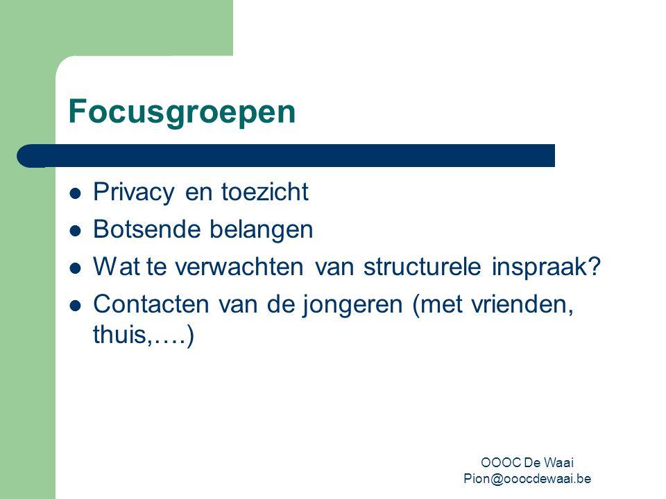 OOOC De Waai Pion@ooocdewaai.be Focusgroepen Privacy en toezicht Botsende belangen Wat te verwachten van structurele inspraak.