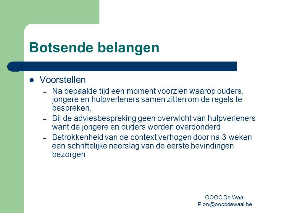 OOOC De Waai Pion@ooocdewaai.be Botsende belangen Voorstellen – Na bepaalde tijd een moment voorzien waarop ouders, jongere en hulpverleners samen zitten om de regels te bespreken.