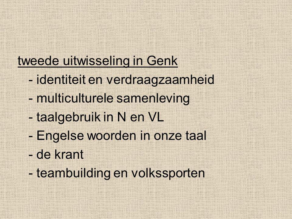 tweede uitwisseling in Genk - identiteit en verdraagzaamheid - multiculturele samenleving - taalgebruik in N en VL - Engelse woorden in onze taal - de krant - teambuilding en volkssporten
