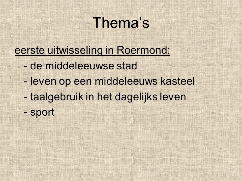 Thema's eerste uitwisseling in Roermond: - de middeleeuwse stad - leven op een middeleeuws kasteel - taalgebruik in het dagelijks leven - sport