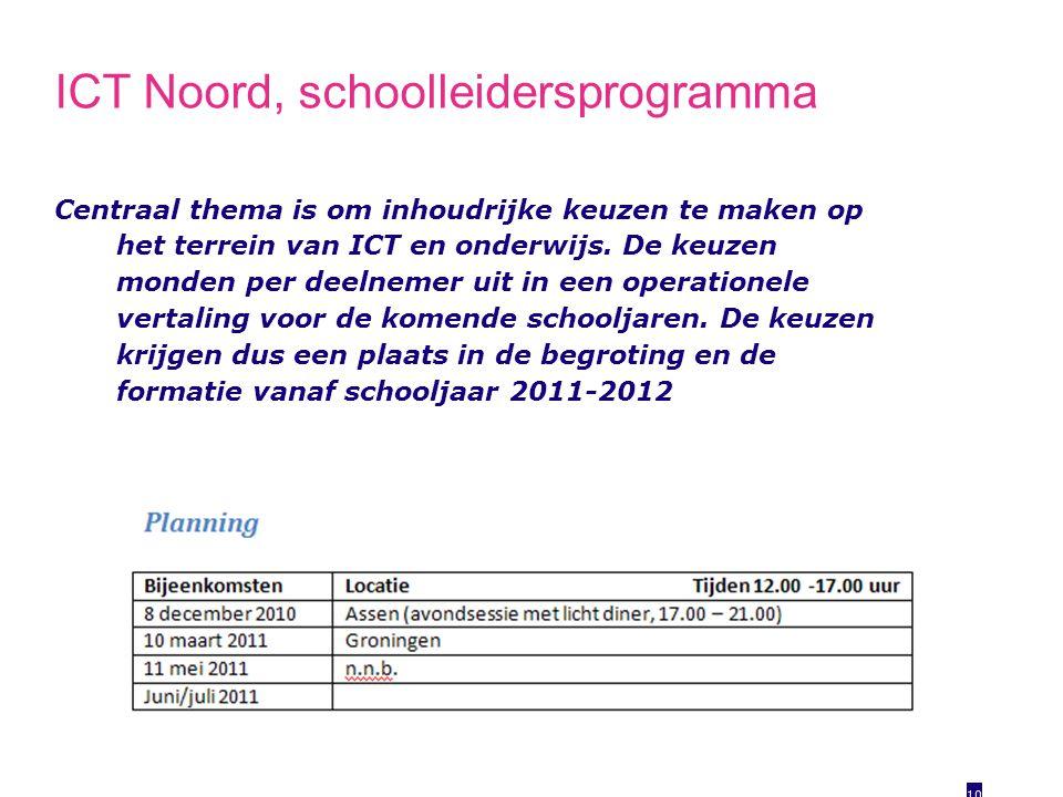 ICT Noord, schoolleidersprogramma Centraal thema is om inhoudrijke keuzen te maken op het terrein van ICT en onderwijs.