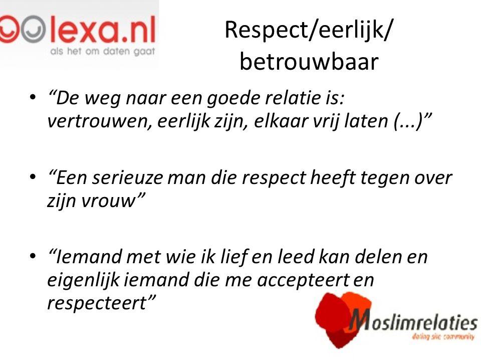 """Respect/eerlijk/ betrouwbaar """"De weg naar een goede relatie is: vertrouwen, eerlijk zijn, elkaar vrij laten (...)"""" """"Een serieuze man die respect heeft"""