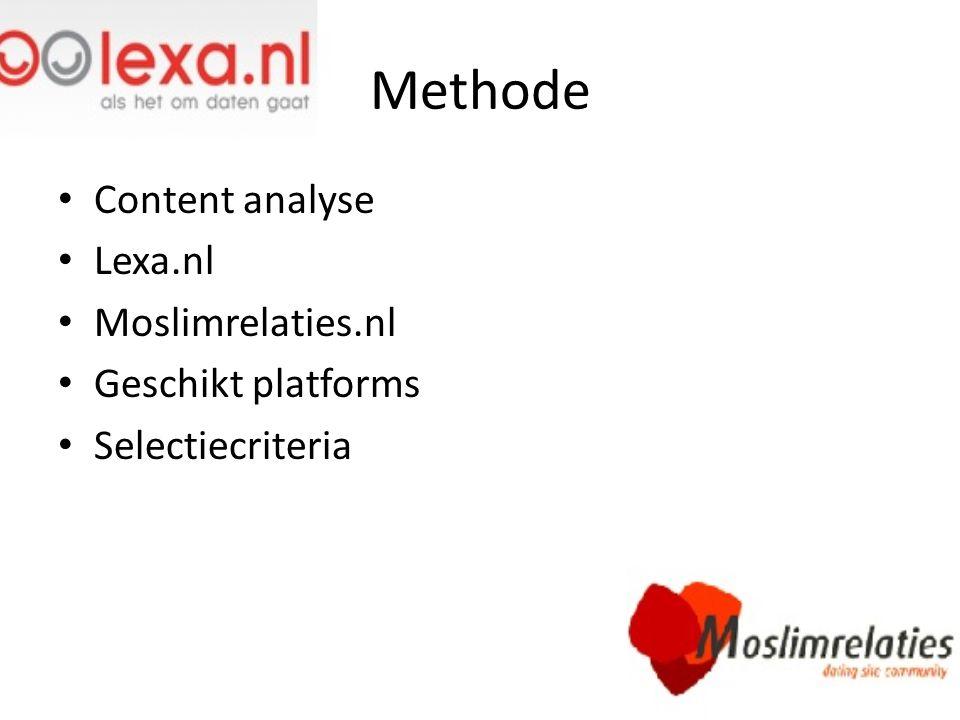 Methode Content analyse Lexa.nl Moslimrelaties.nl Geschikt platforms Selectiecriteria