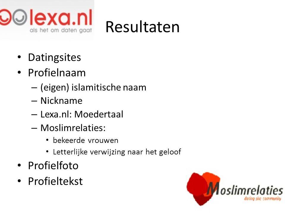 Resultaten Datingsites Profielnaam – (eigen) islamitische naam – Nickname – Lexa.nl: Moedertaal – Moslimrelaties: bekeerde vrouwen Letterlijke verwijz