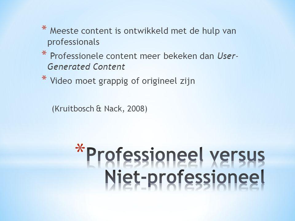 * Meeste content is ontwikkeld met de hulp van professionals * Professionele content meer bekeken dan User- Generated Content * Video moet grappig of origineel zijn (Kruitbosch & Nack, 2008)