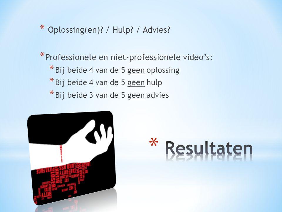 * Oplossing(en). / Hulp. / Advies.