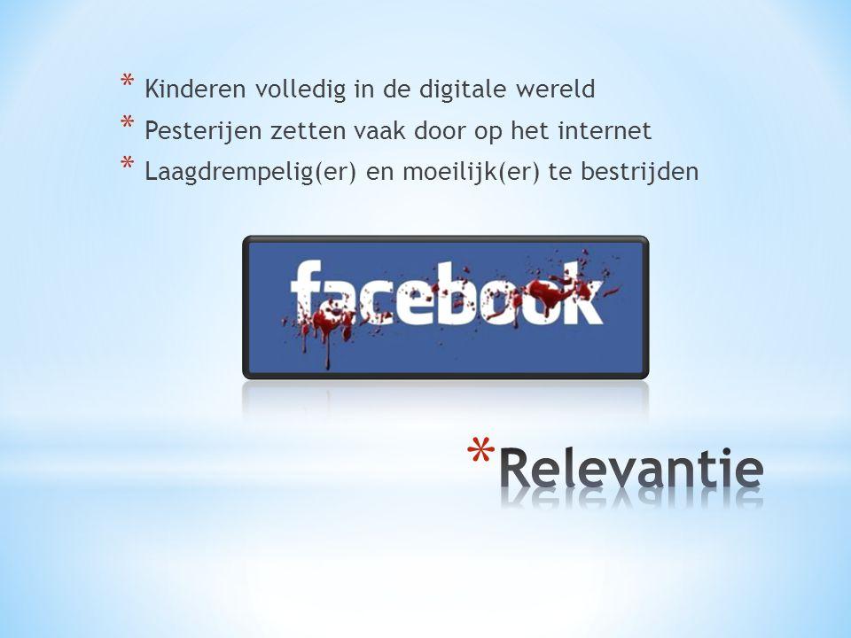 * Sociale media spelen een belangrijke rol in het opzetten, maken en verspreiden van campagnes om digitaal pesten onder de aandacht te brengen (Lindgren & Lundström, 2011).