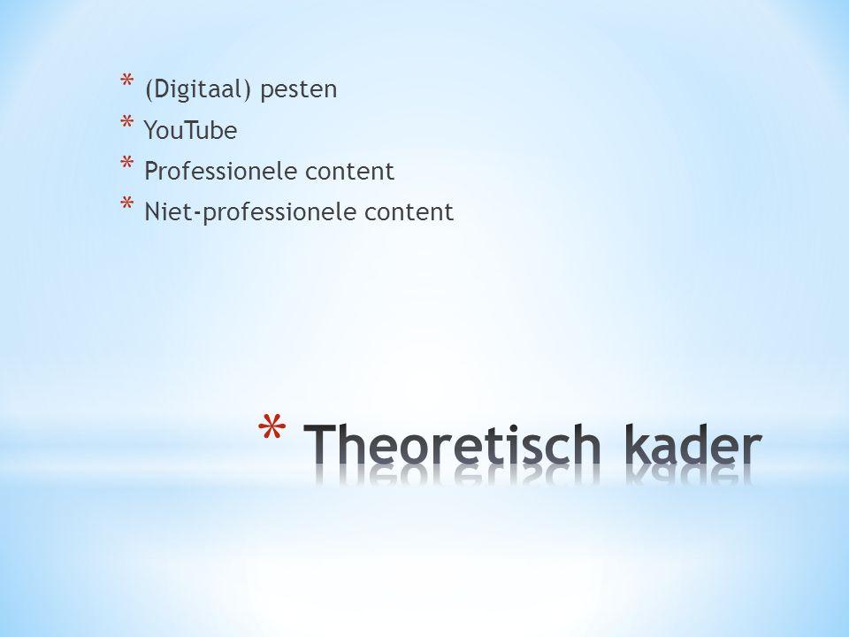 * (Digitaal) pesten * YouTube * Professionele content * Niet-professionele content