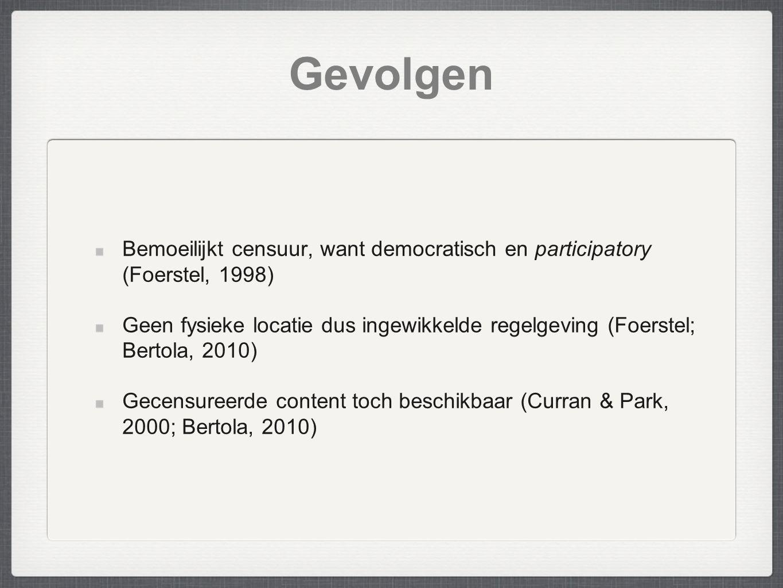 Gevolgen Bemoeilijkt censuur, want democratisch en participatory (Foerstel, 1998) Geen fysieke locatie dus ingewikkelde regelgeving (Foerstel; Bertola