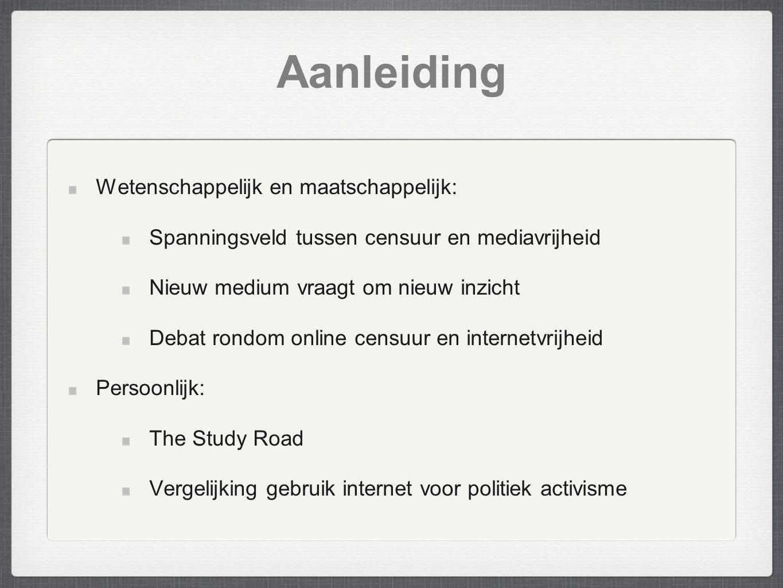 Aanleiding Wetenschappelijk en maatschappelijk: Spanningsveld tussen censuur en mediavrijheid Nieuw medium vraagt om nieuw inzicht Debat rondom online