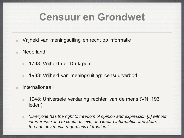 Censuur en Grondwet Vrijheid van meningsuiting en recht op informatie Nederland: 1798: Vrijheid der Druk-pers 1983: Vrijheid van meningsuiting: censuu