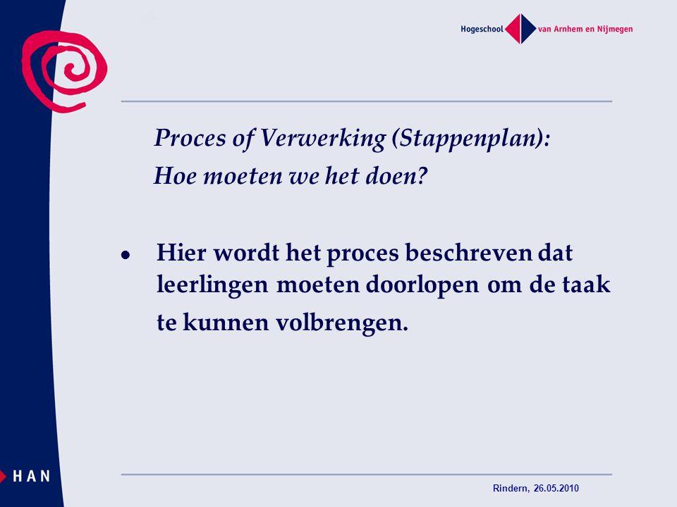 Rindern, 26.05.2010 Proces of Verwerking (Stappenplan): Hoe moeten we het doen? Hier wordt het proces beschreven dat leerlingen moeten doorlopen om de