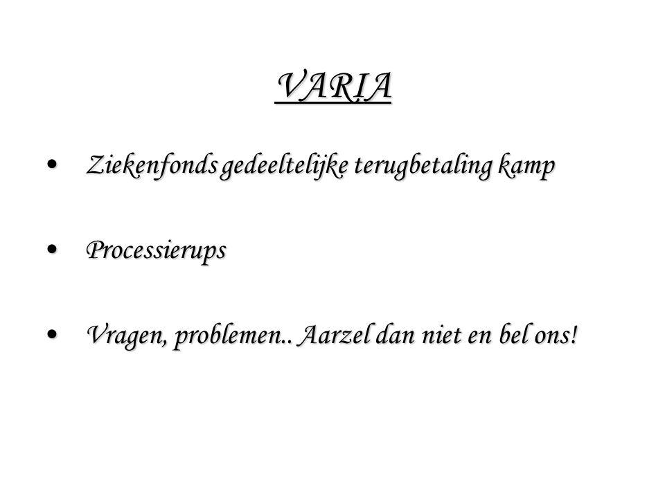 VARIA Ziekenfonds gedeeltelijke terugbetaling kampZiekenfonds gedeeltelijke terugbetaling kamp ProcessierupsProcessierups Vragen, problemen.. Aarzel d