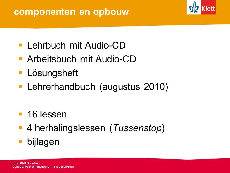 Ernst Klett Sprachen Verlag Erwachsenenbildung - Niederländisch componenten en opbouw  Lehrbuch mit Audio-CD  Arbeitsbuch mit Audio-CD  Lösungsheft