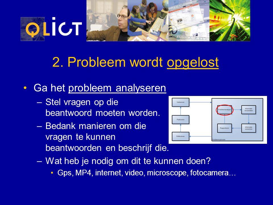 2. Probleem wordt opgelost Ga het probleem analyseren –Stel vragen op die beantwoord moeten worden. –Bedank manieren om die vragen te kunnen beantwoor