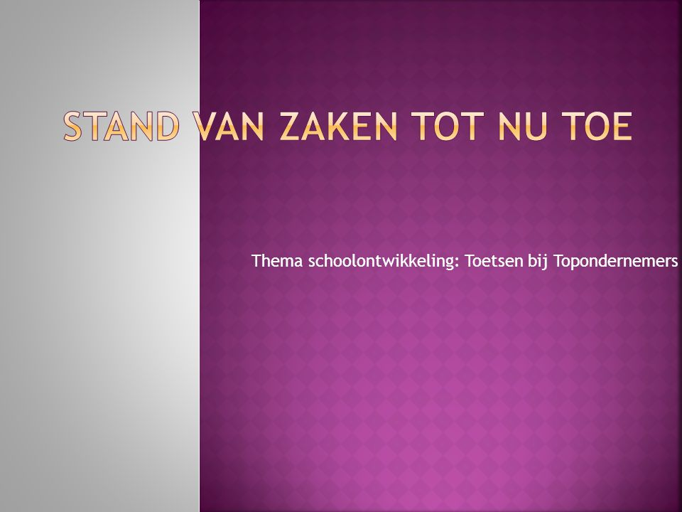 Thema schoolontwikkeling: Toetsen bij Topondernemers