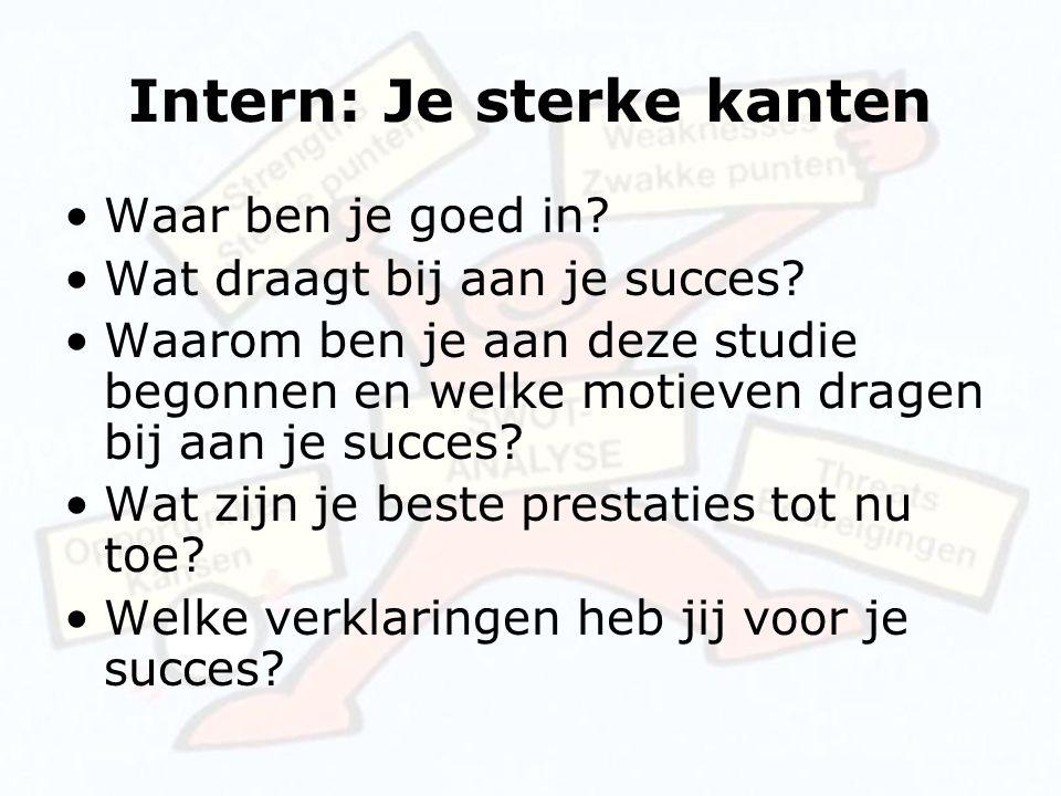 Intern: Je sterke kanten Waar ben je goed in? Wat draagt bij aan je succes? Waarom ben je aan deze studie begonnen en welke motieven dragen bij aan je