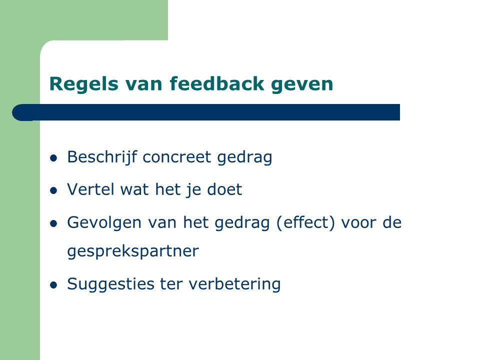 Regels van feedback geven Beschrijf concreet gedrag Vertel wat het je doet Gevolgen van het gedrag (effect) voor de gesprekspartner Suggesties ter verbetering