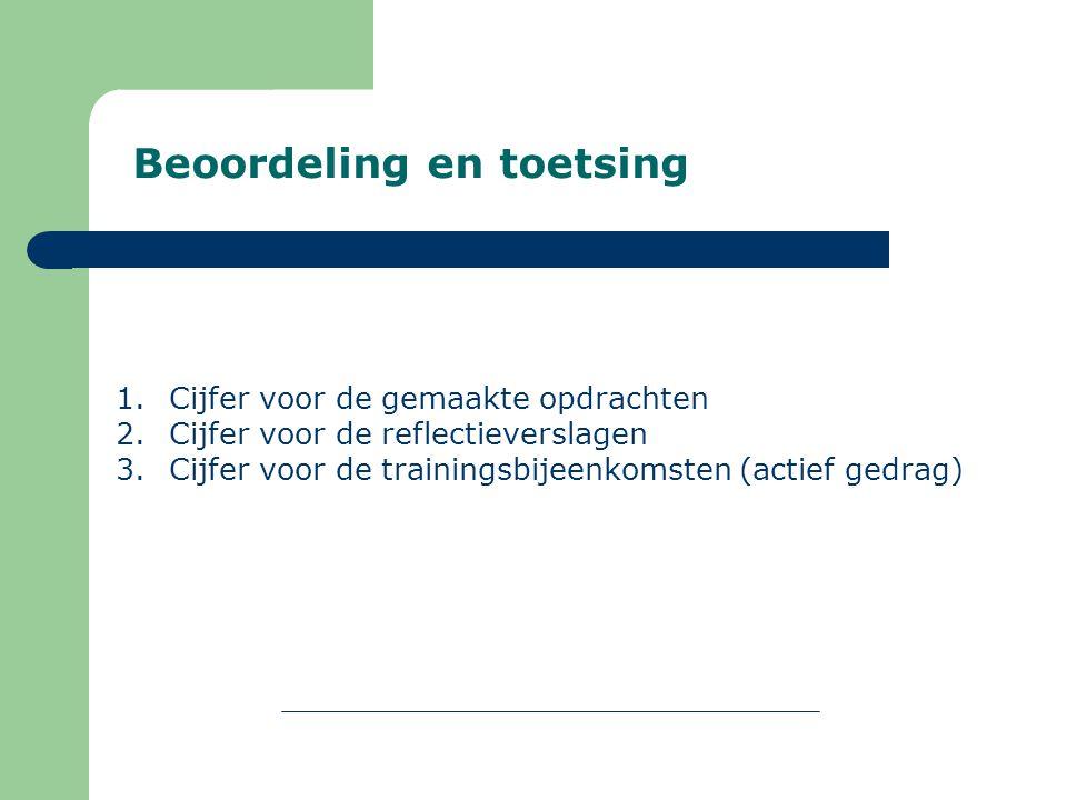 Beoordeling en toetsing 1.Cijfer voor de gemaakte opdrachten 2.Cijfer voor de reflectieverslagen 3.Cijfer voor de trainingsbijeenkomsten (actief gedra