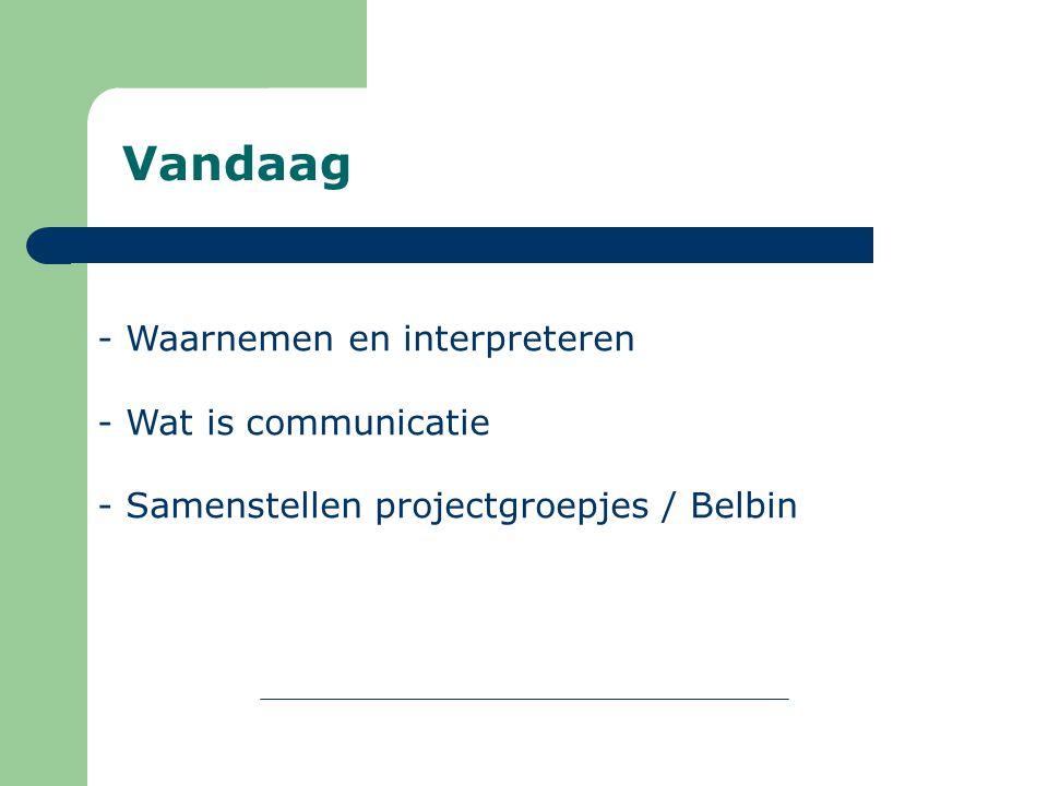 Vandaag - Waarnemen en interpreteren - Wat is communicatie - Samenstellen projectgroepjes / Belbin