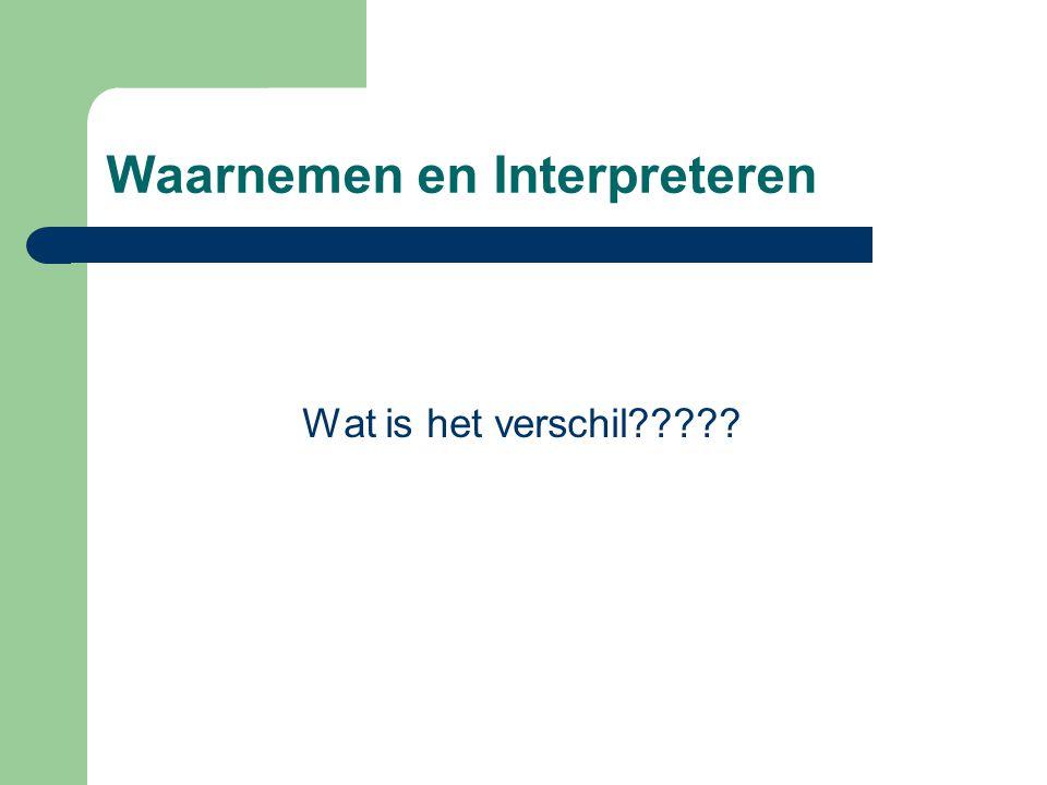 Waarnemen en Interpreteren Wat is het verschil?????