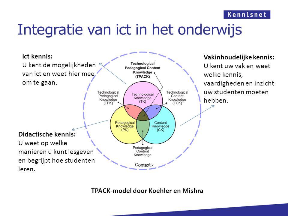 Integratie van ict in het onderwijs Ict kennis: U kent de mogelijkheden van ict en weet hier mee om te gaan.