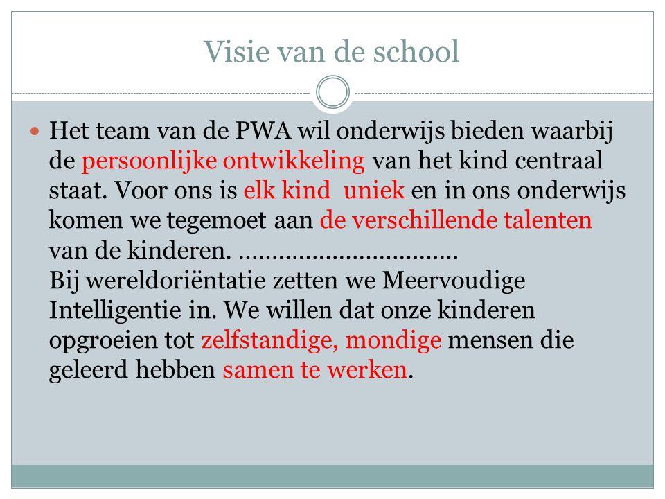Visie van de school Het team van de PWA wil onderwijs bieden waarbij de persoonlijke ontwikkeling van het kind centraal staat. Voor ons is elk kind un