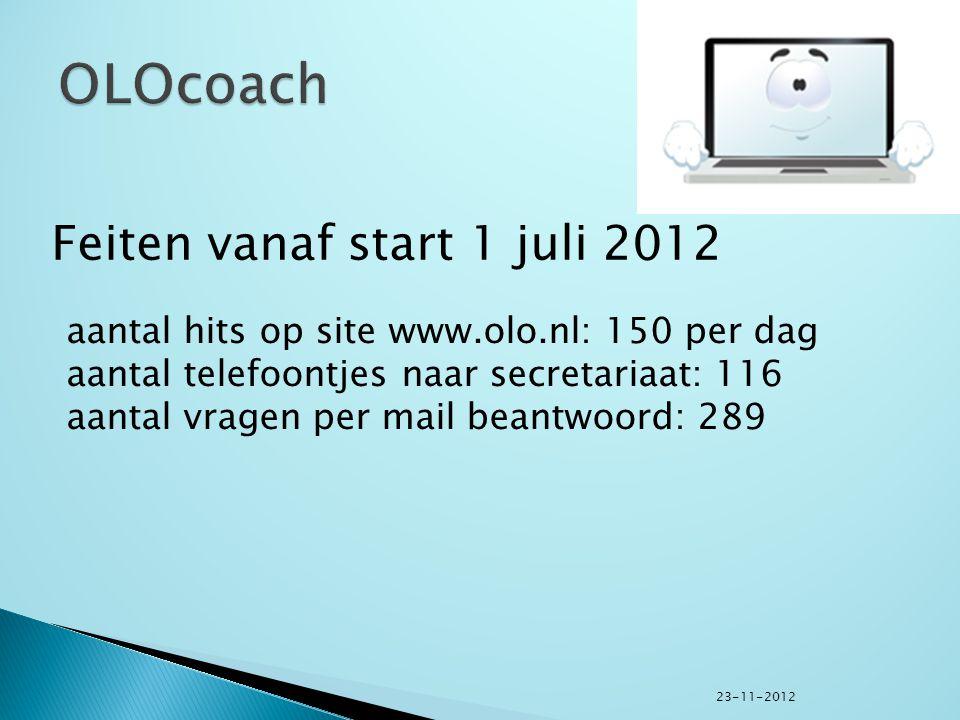 aantal hits op site www.olo.nl: 150 per dag aantal telefoontjes naar secretariaat: 116 aantal vragen per mail beantwoord: 289 Feiten vanaf start 1 juli 2012 23-11-2012