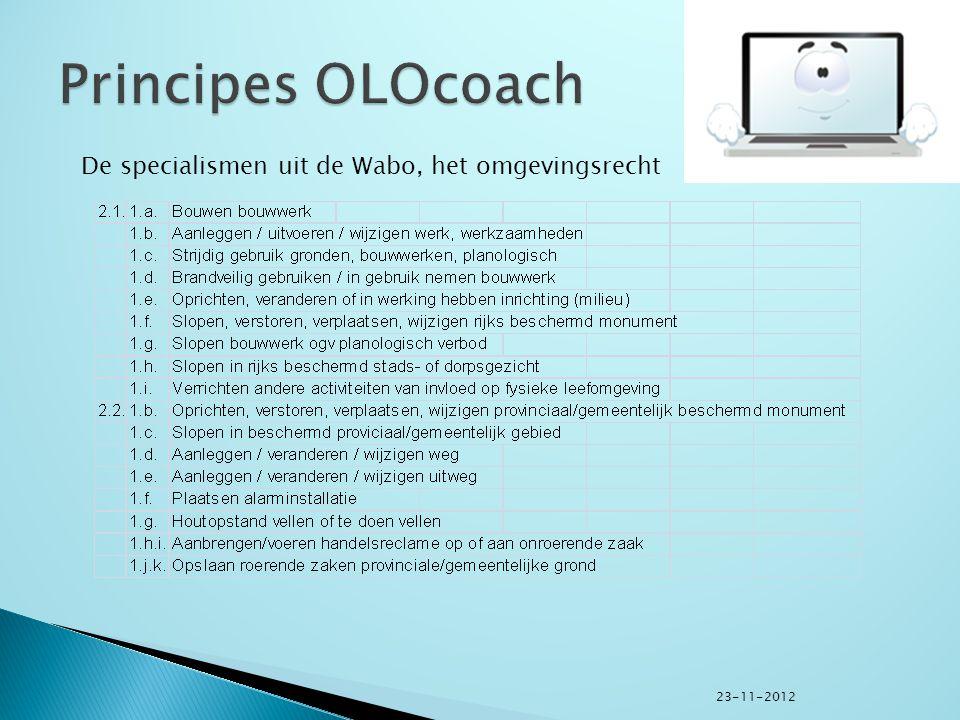  Coaches op voorkant www.olo.nl zichtbaar,www.olo.nl  Inschrijven coaches op specialisme en regio in CRM-applicatie OLOcoach, genaamd: adviesmodule omgevingsloket online,  Coaches hiermee op www.olo.nl rechtstreeks benaderbaar, telefonisch en per mail,www.olo.nl  Coaches koppelen antwoord op vragen in adviesmodule terug om database te vullen, termijnen te bewaken en achteraf kwaliteit te kunnen meten.