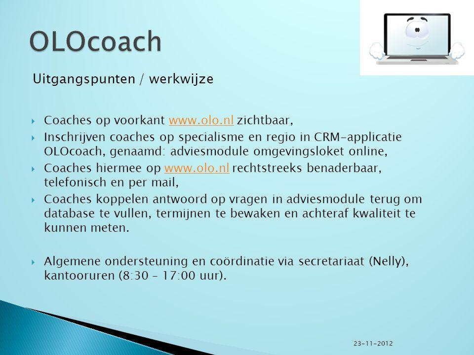  Coaches op voorkant www.olo.nl zichtbaar,www.olo.nl  Inschrijven coaches op specialisme en regio in CRM-applicatie OLOcoach, genaamd: adviesmodule