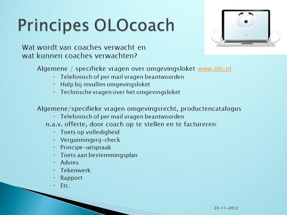 Algemene / specifieke vragen over omgevingsloket www.olo.nlwww.olo.nl  Telefonisch of per mail vragen beantwoorden  Hulp bij invullen omgevingsloket