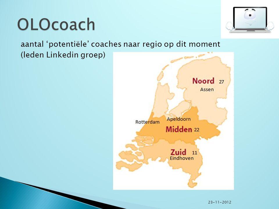 aantal 'potentiële' coaches naar regio op dit moment (leden Linkedin groep) 23-11-2012
