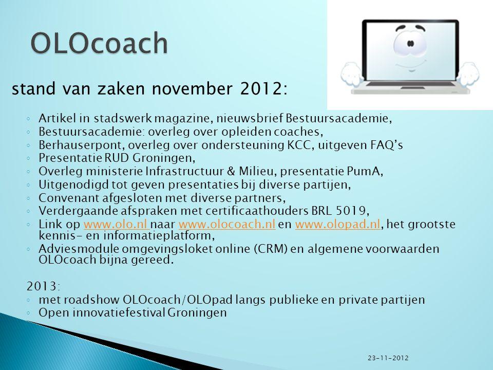 stand van zaken november 2012: ◦ Artikel in stadswerk magazine, nieuwsbrief Bestuursacademie, ◦ Bestuursacademie: overleg over opleiden coaches, ◦ Ber