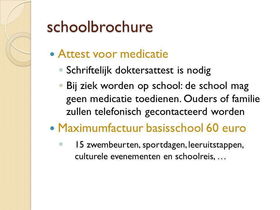 schoolbrochure Attest voor medicatie ◦ Schriftelijk doktersattest is nodig ◦ Bij ziek worden op school: de school mag geen medicatie toedienen. Ouders