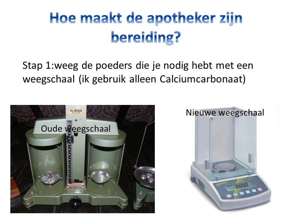 Stap 1:weeg de poeders die je nodig hebt met een weegschaal (ik gebruik alleen Calciumcarbonaat) Oude weegschaal Nieuwe weegschaal
