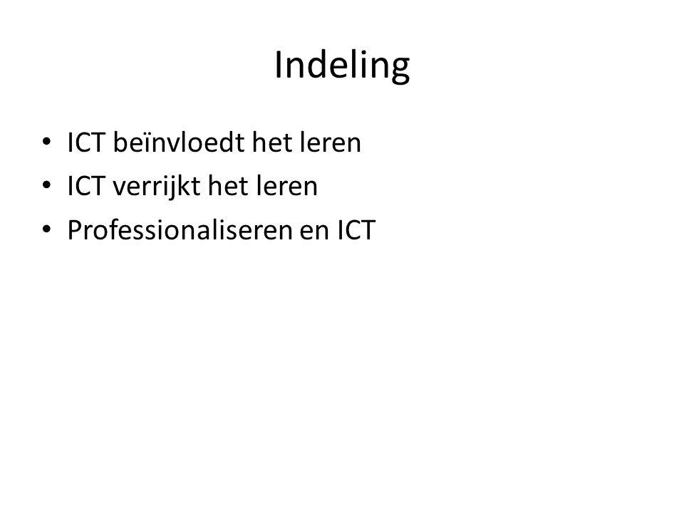 Indeling ICT beïnvloedt het leren ICT verrijkt het leren Professionaliseren en ICT