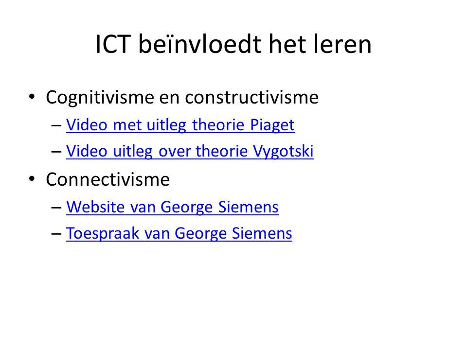 ICT beïnvloedt het leren Cognitivisme en constructivisme – Video met uitleg theorie Piaget Video met uitleg theorie Piaget – Video uitleg over theorie