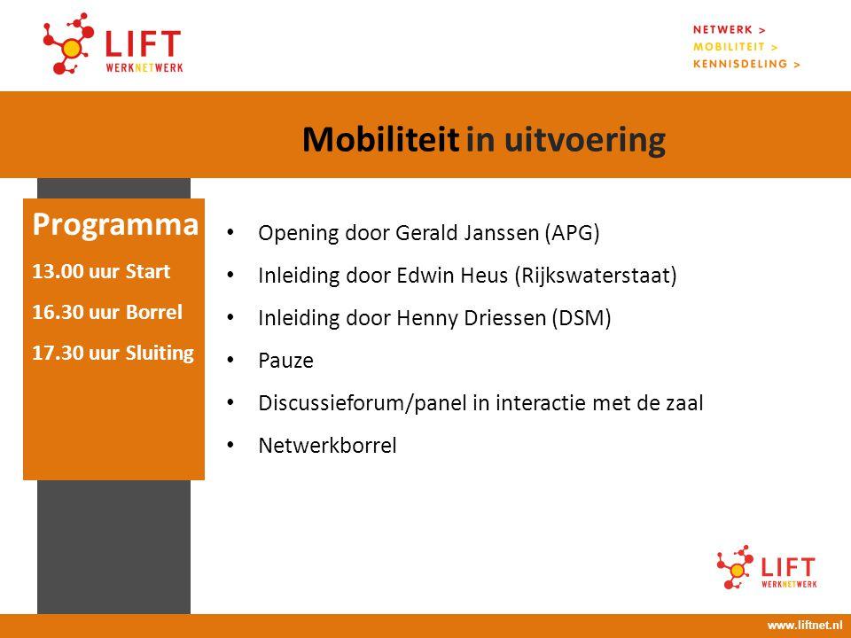17 april 2008 16.00 – 18.00 uur Opening door Gerald Janssen (APG) Inleiding door Edwin Heus (Rijkswaterstaat) Inleiding door Henny Driessen (DSM) Pauz