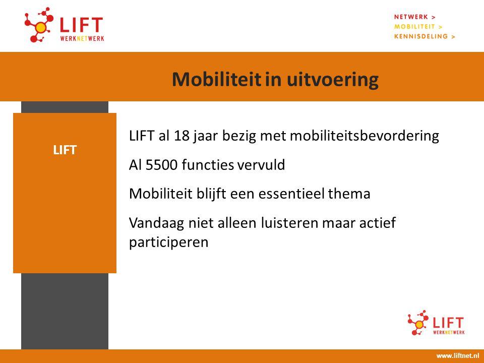 17 april 2008 16.00 – 18.00 uur LIFT al 18 jaar bezig met mobiliteitsbevordering Al 5500 functies vervuld Mobiliteit blijft een essentieel thema Vanda