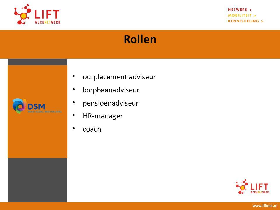 17 april 2008 16.00 – 18.00 uur Rollen www.liftnet.nl outplacement adviseur loopbaanadviseur pensioenadviseur HR-manager coach
