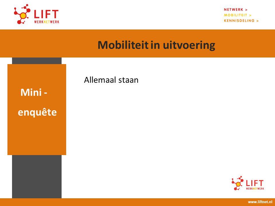 Allemaal staan Mini - enquête www.liftnet.nl Mobiliteit in uitvoering