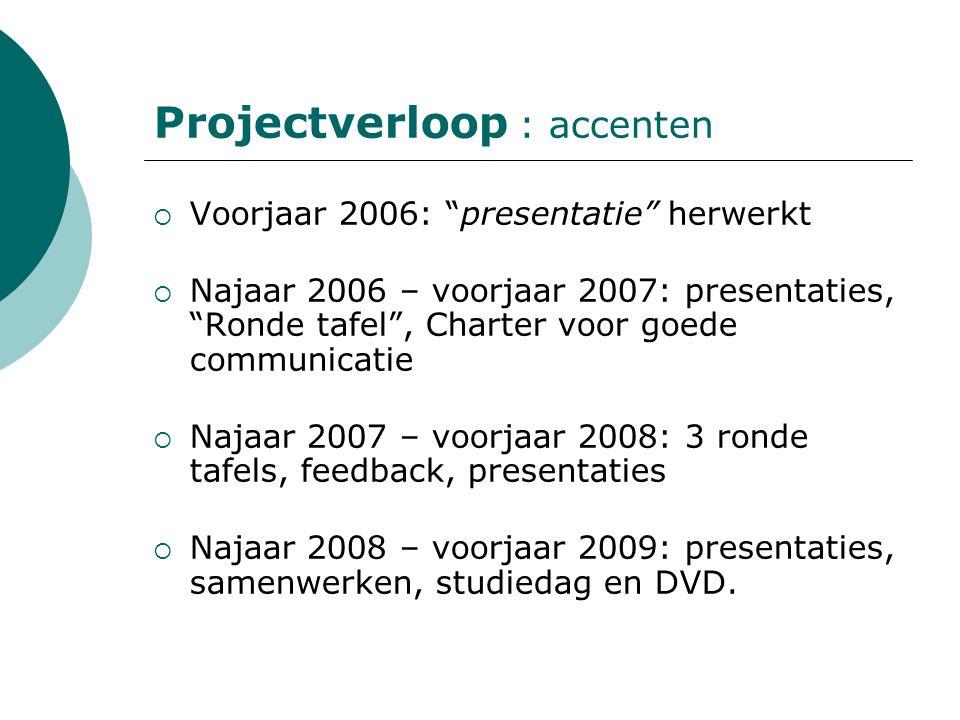 """Projectverloop : accenten  Voorjaar 2006: """"presentatie"""" herwerkt  Najaar 2006 – voorjaar 2007: presentaties, """"Ronde tafel"""", Charter voor goede commu"""